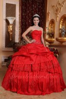 Crimson Sweetheart Lolita Palace Style Lacework and Layers Quinceanera 2019 Ball Gown
