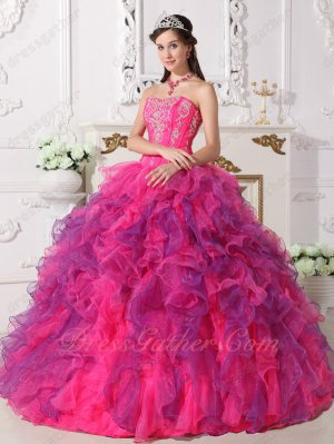 Silver Embroidery Hot Pink and Purple Alternate Ruffles Military Ball Dress Cache