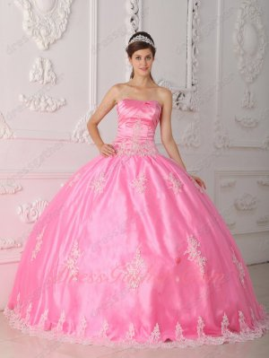 Lovely Strapless Lace Applique Rose Pink Ball Gown Floor Length With Tulle
