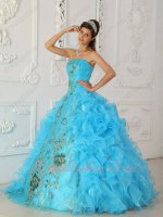 Good Looking Aqua Blue Quinceanera Military Gown With Exquisite Shiny Applique