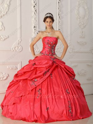 Coral Red Taffeta Military Pageant Party Wear Floor Length Bubble Ball Gown