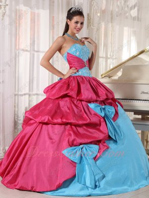 Aqua Blue/Hot Pink Girlish Quince Ball Gown Dress With Many Bowknots Decorate