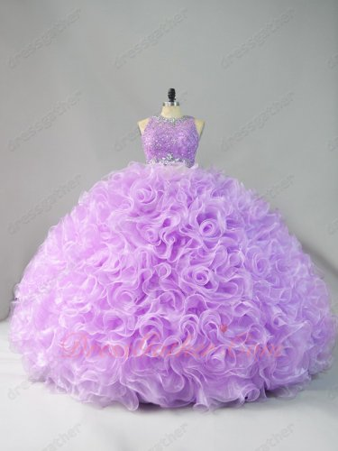 Two Pieces Scoop Applique Blouse Lilac Curly Edging Ruffles Quinceanera Cake Gowns Cute