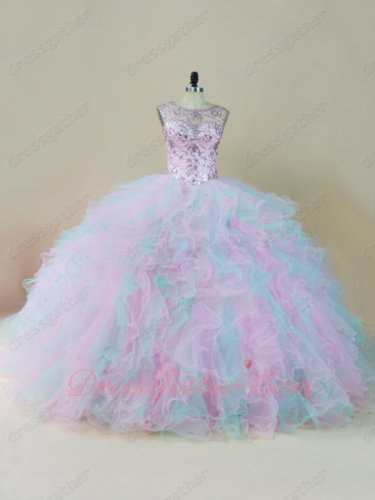 Lovely Crystals Corset Baby Pink/Ice Blue Mixed Tulle Ruffles Quinceanera Dress Gowns