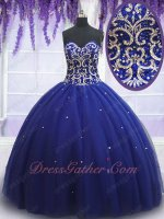 Romantic Dark Royal Blue Tulle Mesh Quiceanera Floor Length Ball Gown Wholesale