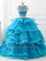 Azure Blue Two Pieces Detached Horsehair Organza Waterfalls Train Ball Gown Beadwork
