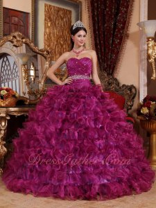 Sweetheart Magenta Organza Ruffle Layers Quince Cake Ball Gown 2020