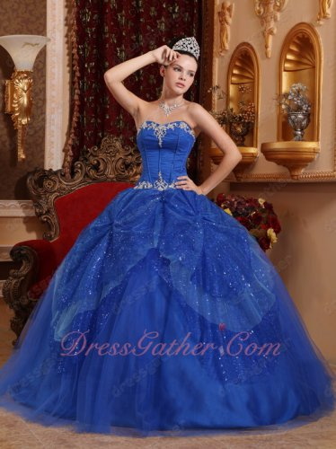 Internet Shop Royal Blue Military Ball Dresses With Sparkling Overlay