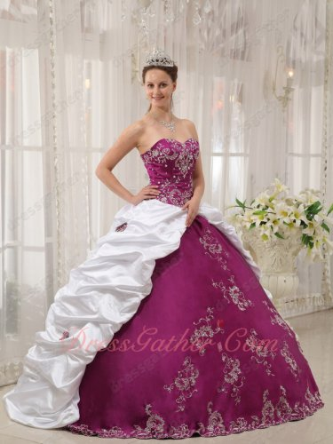 Flat Mauve Purple Quinceanera Gown With Side White Floor Length Bubble Coverage