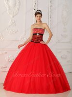 Beaded Chest Zebra Waist Basque Scarlet Flat Tulle Quinceanera Gown Beautiful