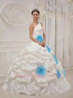 Princess One Shoulder Ivory Quinceanera Ball Gown With Aqua 3D Lotus Flower