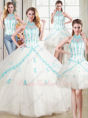 White Mesh With Ice Blue Floret Detaisl Detachable Four Pieces Quinceanera Ball Gown