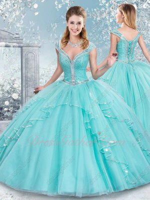 Two-pieces Bodice Skirt Detachable From Waist IceBlue Quinceanera Gown Sequin Edging