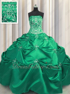 Magic Silver Handwork Embroidery Old Fashion Quinceanera Gown Medium Sea Green Satin