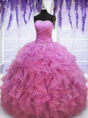 Dust Rose Pink Circular Organza Wave Ruffles Round Skirt 15th Birthday Quinceanera Gown
