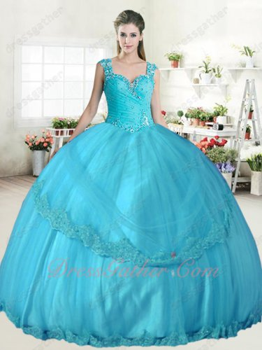 Discount Sweetheart Aqua Blue Tulle Lace Hemline Quinceanera Gown Double Wide Straps