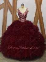 Silver Embroidery Basque Heart-Shaped Cut Out Back Dense Ruffles Quince Gowns Burgundy