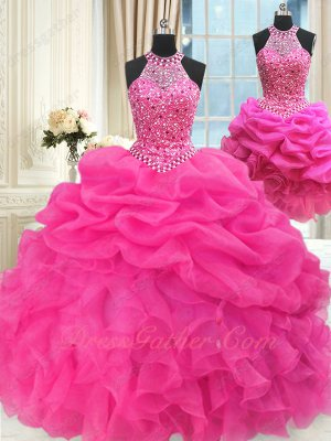Hot Pink Bubble and Waterfall Cheap Quinceanera Gown Detachable 3 Pieces Short Skirt