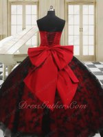 Present Petticoat Red With Black Plain Lace Lovely Quince Ball Gown With Bowknot Back