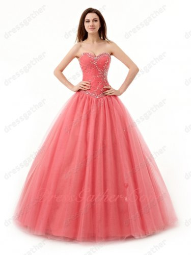 Watermelon Dropped V Basque Silver Beadwork Girl Prom Ball Gown Not Puffy to Dancing