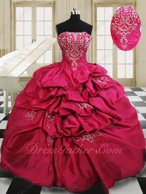 Palace Casual Military Ball Gown Puffy Bubble Skirt Fuchsia With Silver Embroidery