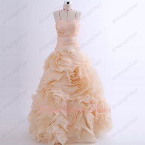 Peach Blush Rolled Flowers Skirt Floor Length Young Lady Prom Ball Gown Not Very Puffy
