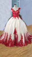 Scoop Neck Fluffy Chapel Train Lovely Quinceanera Ball Gown Beige With Red 3D Applique