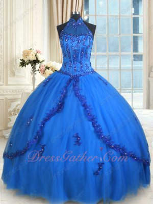 Halter Corset Royal Blue Multilayer Tulle Fluffy Quinceanera Ball Gown Pageant