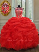 Extraordinary Scoop Bubble and Ruffles Red Organza Ball Gown Sweet Fifteen Birthday