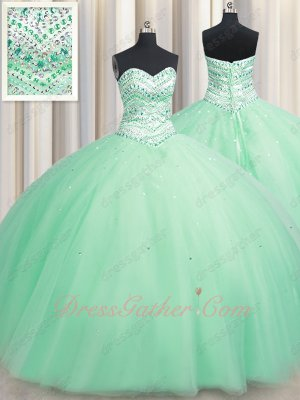 2020 Affordable Floor Length Mint Apple Green Plain Tulle Military Ball Gown Crystals