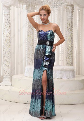 Navy Blue/Ice Blue Gradient Fading Color Sequin Cocktail Evening Dress Thigh Slit