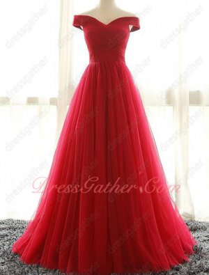 Off Shoulder V Neck Ruching Terse Red Puffy Tulle Talk Show Dress Bustle