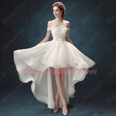 Off Shoulder Transparent Appliques Bodice Ivory Runway Contest Dress Show Leg
