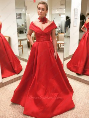 V Shaped Off Shoulder Puffy Long Red Satin Leisure Dress Has Pockets