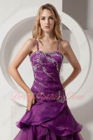 Backless Crossed Mermaid Grape Purple Organa Layers Military Mature Women Gowns