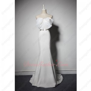 Noble Mermaid Skirt White Annual Meeting Gown With Big Bowknot Chest