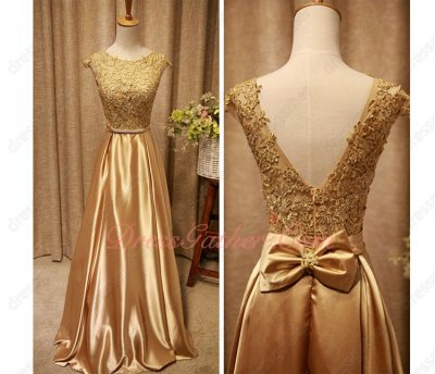 Scoop Appliques Bodice Floor Length Gold Lustrous Fabric Vocal Concert Dress Online