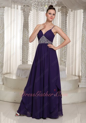 Spaghetti Straps Show Cleavage Triangular Silver Beading Dark Purple Prom Gowns