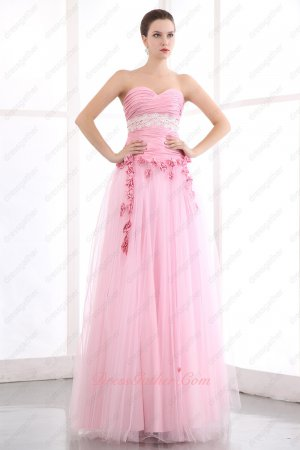 Dropped Taffeta Ruching Basque Tulle/Mesh Skirt Pink Party Prom Dress With Flowers