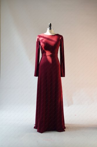 Conservative Long Sleeves Burgundy Spandex Mother Of The Bride Winter Dress Customized