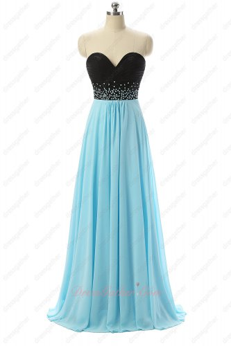 Sweetheart Neck Black Empire Waist Skirt Light Aqua Vocal Accompaniment Dress
