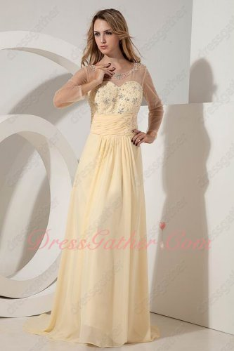 Sheer Tulle Scoop Beaded Daffodil Yellow Mother Evening Party Gowns Long Sleeves