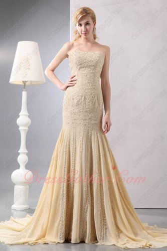 Extravagant Full Beading Mermaid Champagne Chiffon Formal Evening Gowns Court Train