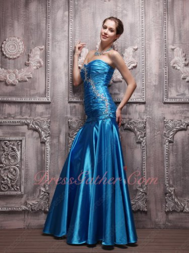 Azure Blue Floor-length Silk Like Satin Mermaid Skirt Evening Formal Dress US