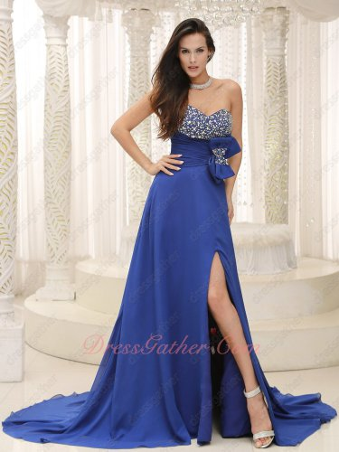 Demure Royal Blue Chiffon Left Opening Skirt Designer Gathering Party Dress Bowknot