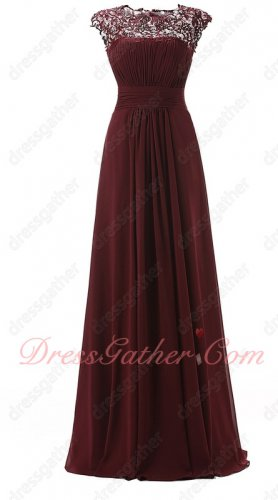 Exquisite Lace Scoop Neck Burgundy Mother Of Bride Dress Back Cut Out