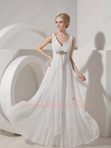 V-neck High Waist Ivory Flattering Company Colleague Formal Prom Gowns Fellowship