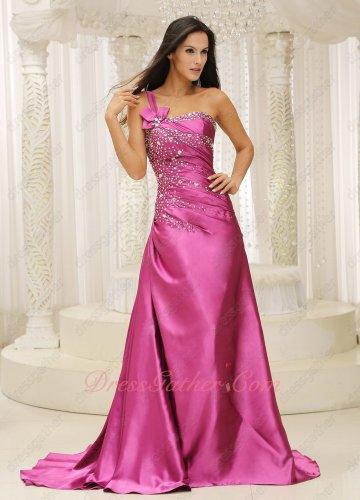 Plus Size Custom Made One Strap Camellia Fuchsia Prom Queen Evening Dress Brush Train