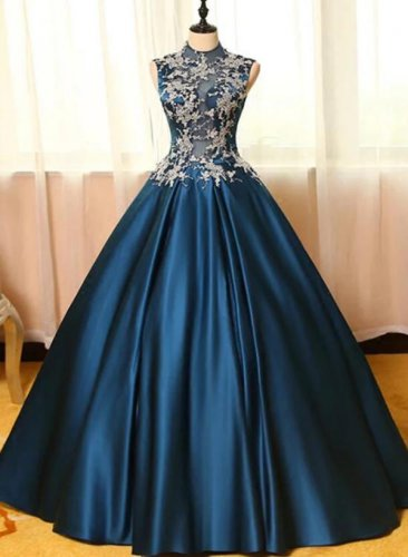 Princess High Collar A-line Navy Blue Little Puffy Quinceanera Dress Sweet 16 Dress Plus Size