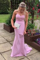 Stylish Pink Spaghetti Straps Prom Dress with Triangle Lace Sweep Train